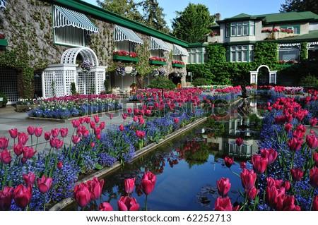 The italian garden (built in 1904) in victoria, vancouver island, british columbia, canada - stock photo