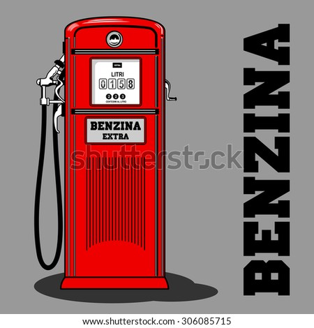 The Italian gas station. Old, stylish gas station, red. - stock photo