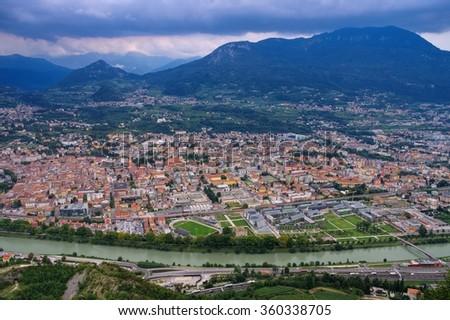 the italian town Trento - stock photo