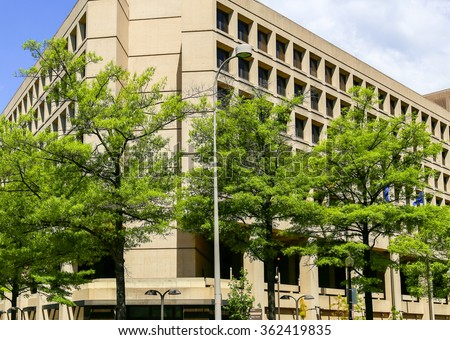 The J. Edgar Hoover Building, Headquarters of the FBI, on Pennsylvania Avenue in Washington DC. - stock photo