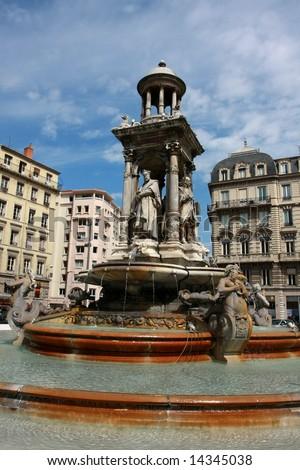 The Jacobin's Fountain in Lyon, France - stock photo