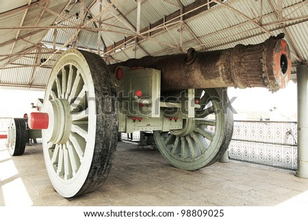The Jaivana Cannon - the world's biggest wheeled cannon ever made, located at the Jaigarh Fort, Jaipur, Rajasthan, India - stock photo
