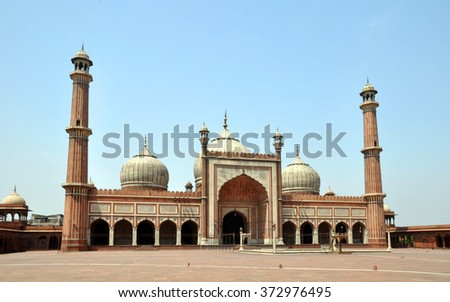 The Jama Masjid Mosque is the largest in India and 25,000 people pray in the square at noon every Friday. Created by the Mughal empire in 1658.