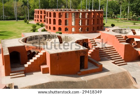 The Jantar Mantar observatory in New Delhi, India - stock photo