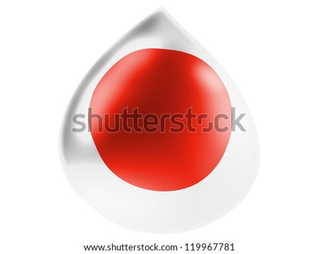 The Japan flag painted on  3D water drop - stock photo