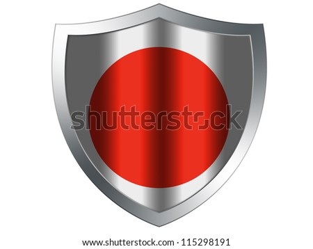 The Japan flag painted on  protection shield - stock photo