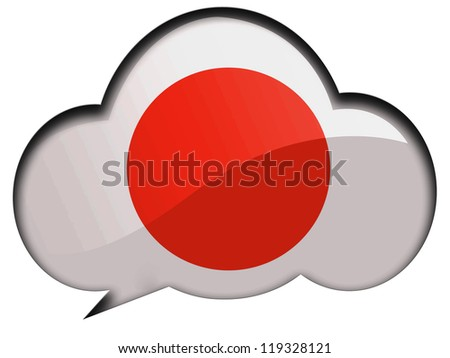 The Japan flag painted on  speaking or thinking bubble - stock photo