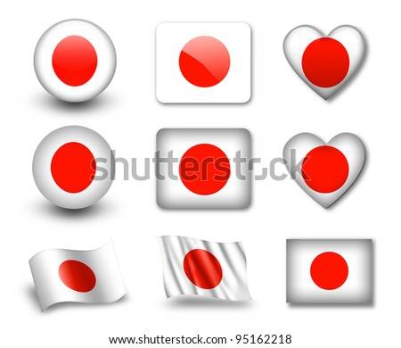The Japan flag - set of icons and flags. glossy and matte on a white background. - stock photo