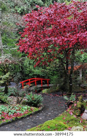 The japanese garden inside the historic butchart gardens (built in 1903) in autumn , vancouver island, british columbia, canada