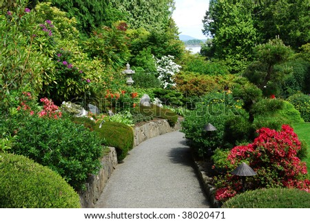 The japanese garden inside the historic butchart gardens (over 100 years in bloom), vancouver island, british columbia, canada
