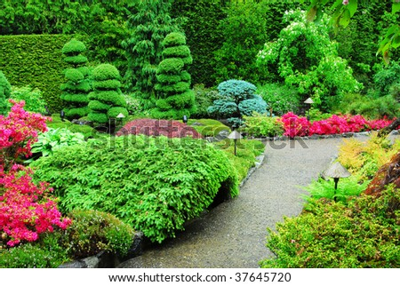 The japanese garden inside the historic butchart gardens (over 100 years in bloom), victoria, british columbia, canada