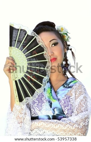 The Japanese has control over a fan on a white background