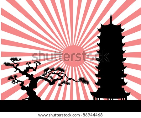 the Japanese landscape silhouette - stock photo