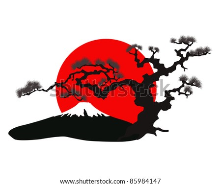 the Japanese landscape silhouette raster - stock photo