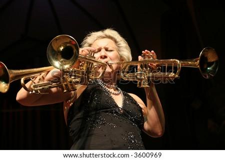 The jazz trumpeter - stock photo