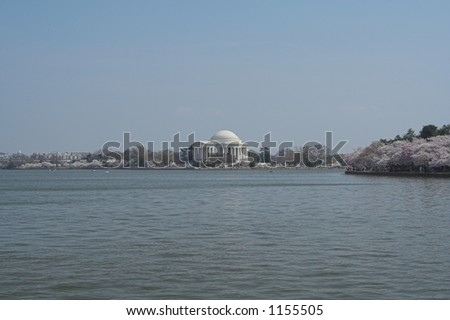 The Jefferson Memorial and Tidal Basin during Cherry Blossom time - stock photo
