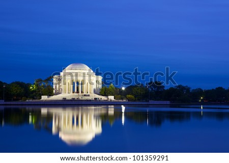 The Jefferson Memorial at dusk, Washington DC, USA
