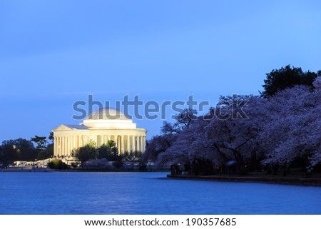 the Jefferson Memorial during the Cherry Blossom Festival in twilight scene. Washington, DC