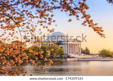 the Jefferson Memorial during the Cherry Blossom Festival. Washington, DC - stock photo