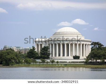 The Jefferson Memorial is an architectural monument built in a classical style. - stock photo