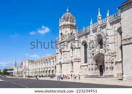 The Jeronimos Monastery or Hieronymites Monastery is located in Lisbon, Portugal - stock photo