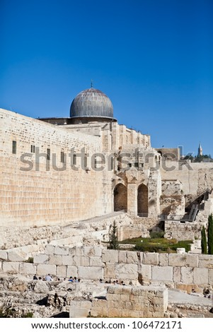 The Jerusalem Temple Mount Al-Agsa Mosque, Israel - stock photo