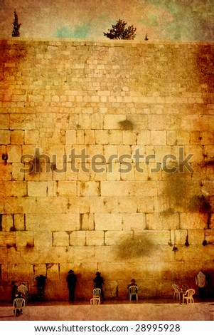 The Jerusalem wailing wall - imitation of an ancient picture - stock photo