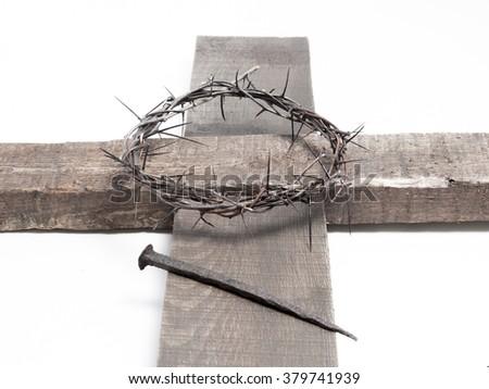 The Jesus Christ crown of thorns and the holy cross - stock photo