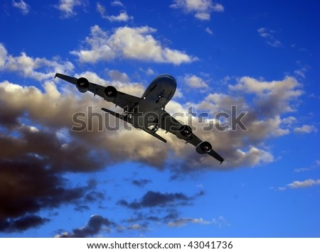 The jet plane on a background of the sky - stock photo