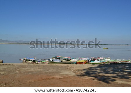 The jetty on the Irrawaddy river, Bagan, Myanmar.