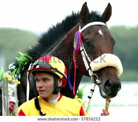 The jockey and stallion. Pyaigorsk,Northern Caucasus,Russia - stock photo