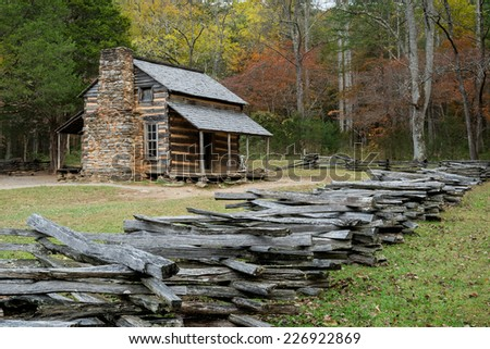 The John Oliver Place in Cades Cove of the Great Smoky Mountains National Park, Tennessee - stock photo