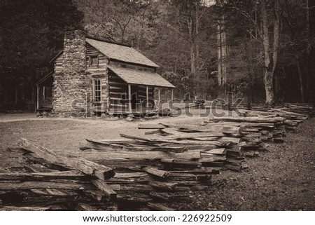 The John Oliver Place in Cades Cove of the Great Smoky Mountains National Park, Tennessee on October 19, 2014 - stock photo