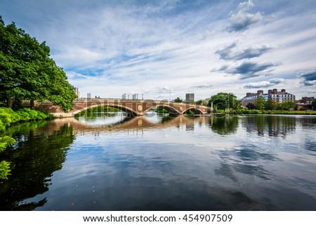 The John W Weeks Bridge and Charles River in Cambridge, Massachusetts. - stock photo