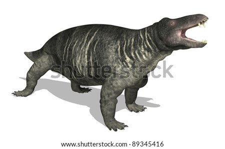 The Jonkeria is a therapsid (mammal-like reptile) that lived 270 million years ago in southern Africa, during the Middle Permian period - 3d render. - stock photo