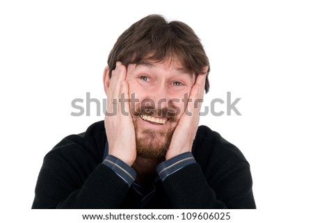 The joyful bearded man with hands on cheeks.Isolated on white background - stock photo