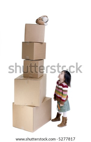 The joys of moving from one place to another. A young girls bunny is far out of reach...how to get it? - stock photo
