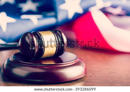 the judge gavel and background with usa flag - stock photo
