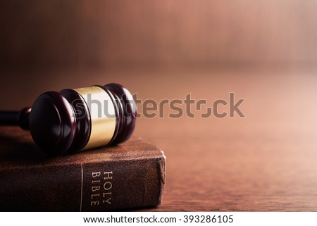 the judge gavel and holy bible - stock photo