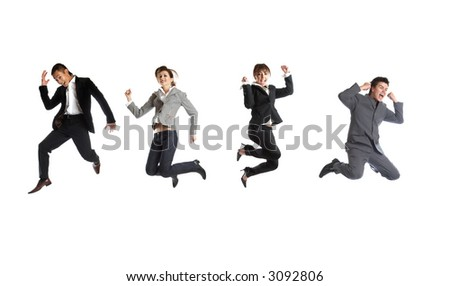 The jump - Young attractive business people - in middle-air jumping - stock photo