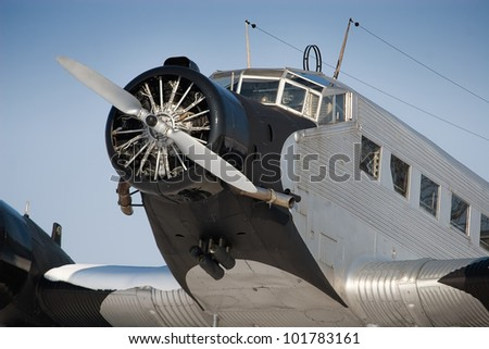 """The Junkers Ju 52 was used as an civilian airliner and military aircraft manufactured between 1932 and 1945 by Junkers corporation. It was nicknamed """"Tante Ju"""". - stock photo"""