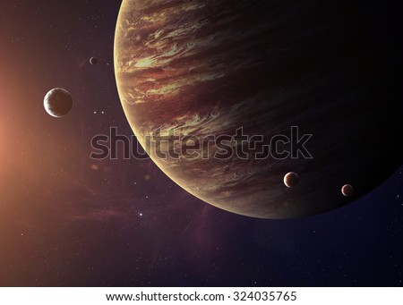 The Jupiter from space showing all they beauty. Extremely detailed image, including elements furnished by NASA. Other orientations and planets available. - stock photo