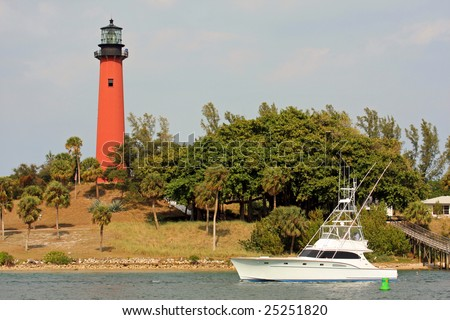 The Jupiter Inlet Lighthouse in Tequesta, Florida - stock photo
