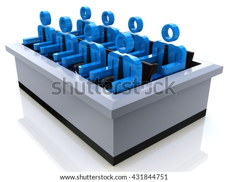 The Jury in the design of information related to teamwork. 3d illustration - stock photo