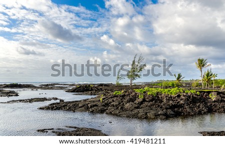 The kapoho tide pools on eastern portion of the Big  Island of Hawaii  - stock photo