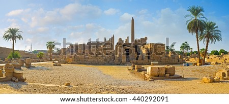 The Karnak Temple is the large archaeological site with numerous preserved landmarks, Luxor, Egypt..