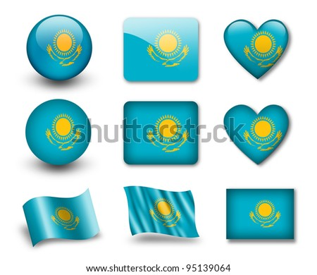 The Kazakh flag - set of icons and flags. glossy and matte on a white background. - stock photo