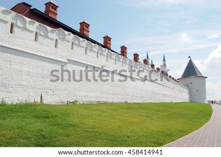 The Kazan Kremlin is the chief historic citadel of Tatarstan, situated in the city of Kazan. It was built at the behest of Ivan the Terrible on the ruins of the former castle of Kazan khans.  - stock photo