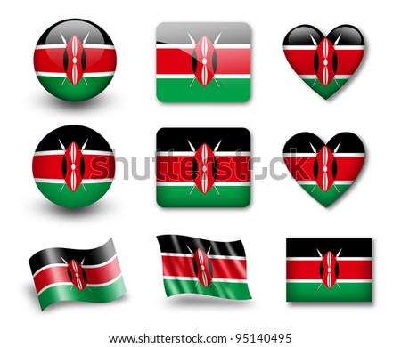 The Kenyan flag - set of icons and flags. glossy and matte on a white background. - stock photo