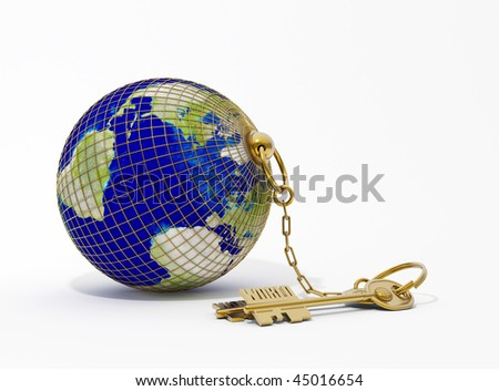 the key chain with Earth - stock photo